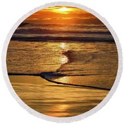 Golden Pacific Sunset Round Beach Towel
