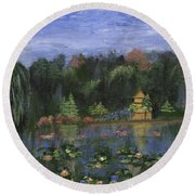 Round Beach Towel featuring the painting Golden Pagoda by Jamie Frier