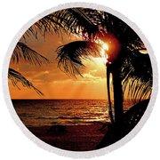 Golden Palm Sunrise Round Beach Towel