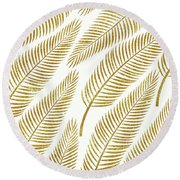 Golden Palm Round Beach Towel by Uma Gokhale