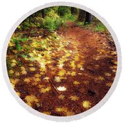 Round Beach Towel featuring the photograph Golden Path by Cat Connor