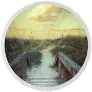 Golden Pathway Round Beach Towel