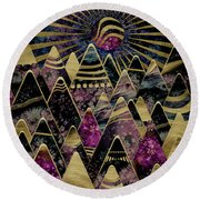 Round Beach Towel featuring the digital art Golden Peaks by Zaira Dzhaubaeva