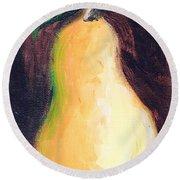 Round Beach Towel featuring the painting Golden Pear.. by Jolanta Anna Karolska
