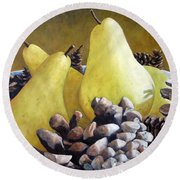 Golden Pears And Pine Cones Round Beach Towel