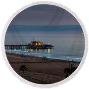 Golden Pier Round Beach Towel