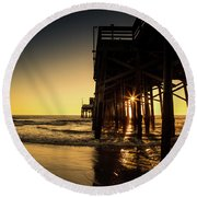 Golden Pier  Round Beach Towel