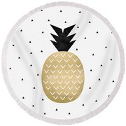 Golden Pineapple Round Beach Towel by Elisabeth Fredriksson