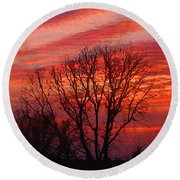 Golden Pink Sunset With Trees Round Beach Towel