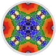 Round Beach Towel featuring the glass art Golden Pond by Mo T