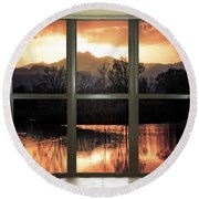 Golden Ponds Bay Window View Round Beach Towel