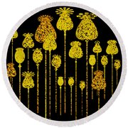 Round Beach Towel featuring the digital art Golden Poppy Heads by Zaira Dzhaubaeva