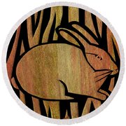 Golden Rabbit Round Beach Towel