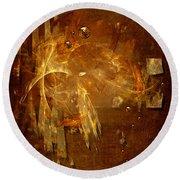 Round Beach Towel featuring the digital art Golden Rain by Alexa Szlavics