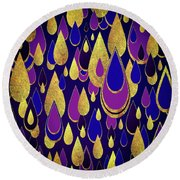 Round Beach Towel featuring the digital art Golden Rain by Zaira Dzhaubaeva