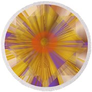 Golden Rays Round Beach Towel