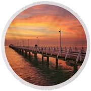 Golden Red Skies Over The Pier Round Beach Towel