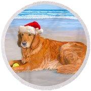 Golden Retreiver Holiday Card Round Beach Towel