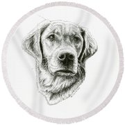 Golden Retriever Bliss Round Beach Towel