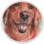 Golden Retriever Dog In Watercolori Round Beach Towel by Maria's Watercolor