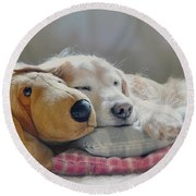 Golden Retriever Dog Sleeping With My Friend Round Beach Towel