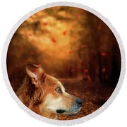 Golden Retriever Dreams Round Beach Towel