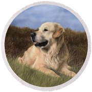 Golden Retriever Painting Round Beach Towel