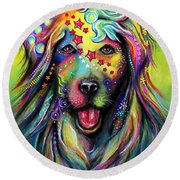 Round Beach Towel featuring the pastel Golden Retriever by Patricia Lintner