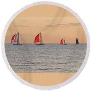 Golden Sail Round Beach Towel