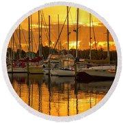 Golden Sailboat Sunrise Over Stuart Marina, Florida Round Beach Towel