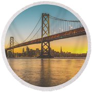 Golden San Francisco Round Beach Towel by JR Photography