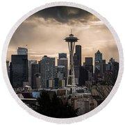 Golden Seattle Round Beach Towel by Chris McKenna