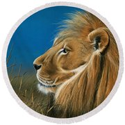 Round Beach Towel featuring the painting Golden Sentinal by Mike Brown
