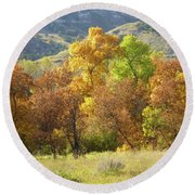 Golden September Round Beach Towel