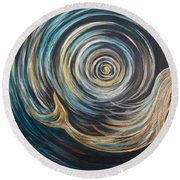 Golden Sirena Mermaid Spiral Round Beach Towel