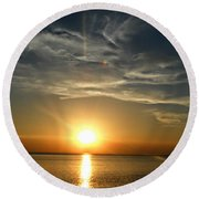 Golden Skies Round Beach Towel