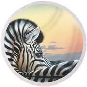 Round Beach Towel featuring the painting Golden Sky by Mike Brown
