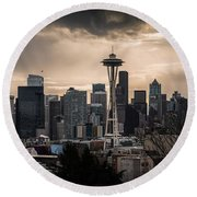 Golden Sky Seattle Round Beach Towel