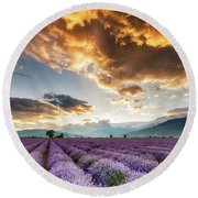 Golden Sky, Violet Earth Round Beach Towel