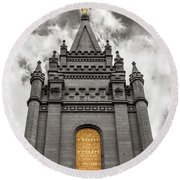 Golden Slc Temple Round Beach Towel