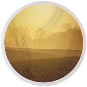 Golden Song Round Beach Towel