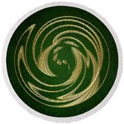 Golden Spring Awakening Abstract Round Beach Towel
