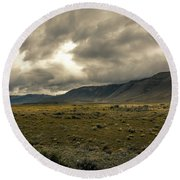 Round Beach Towel featuring the photograph Golden Storm by Andrew Matwijec