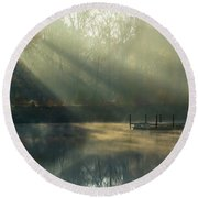 Round Beach Towel featuring the photograph Golden Sun Rays by George Randy Bass
