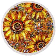 Round Beach Towel featuring the painting Golden Sunflower by Natalie Holland