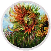 Golden Sunflowers - Harsh Malik Round Beach Towel