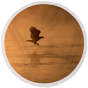 Golden Sunrise And Eagle  2016-3 Round Beach Towel