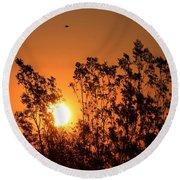 Golden Sunrise Round Beach Towel by Angela J Wright