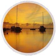 Golden Sunrise At Boreen Point Round Beach Towel