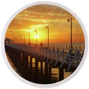 Golden Sunrise Down By The Bay Round Beach Towel